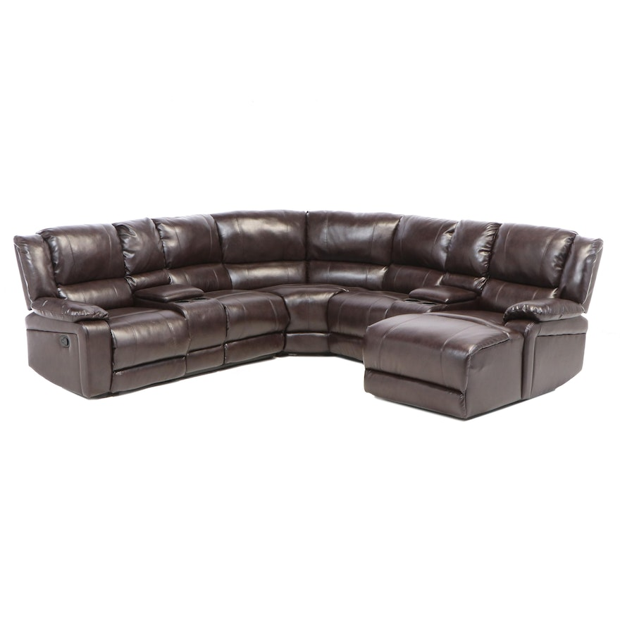 Poundex Contemporary Faux Leather Manual Reclining Sectional Sofa
