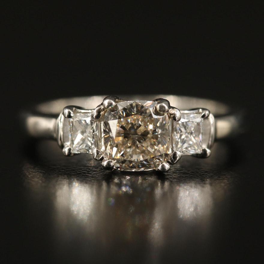 Platinum 1.25 CTW Diamond Three Stone Ring