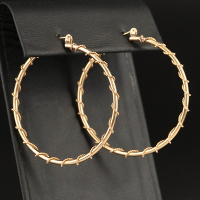 14K Hoop Earrings with Rope Detail