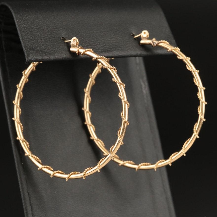 14K Hoop Earrings with Rope Detail