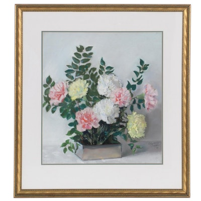 Still Life Pastel Drawing of Flowers, 1954