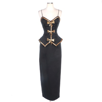 Julie Duroché for Saks Fifth Avenue Sequin/Bead Embellished Black Evening Dress