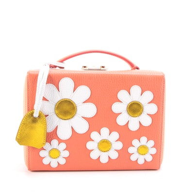 Mark Cross Grace Small Box Bag in Coral Grained Leather with Appliqué Daisies