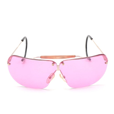 Bottega Veneta Rimless Aviator Sunglasses with Pink Lenses