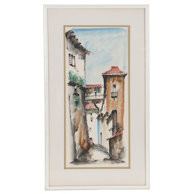 "Landscape Watercolor Painting of Street View ""Granada"""