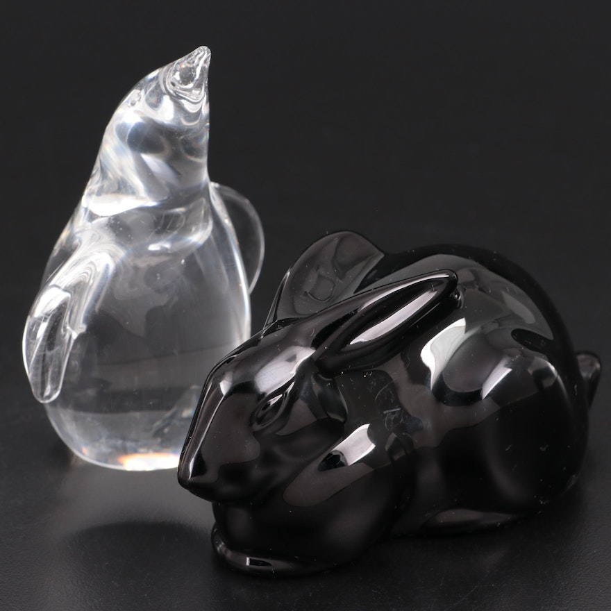 "Baccarat ""Crouching Rabbit"" Black Crystal Figurine with Steuben Glass Penguin"