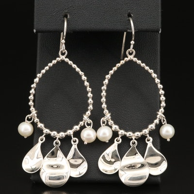 Michael Dawkins Sterling Pearl Hoop Earrings
