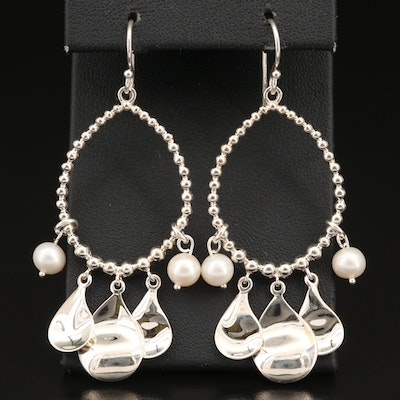 Michael Dawkins Sterling Pearl Loop Earrings
