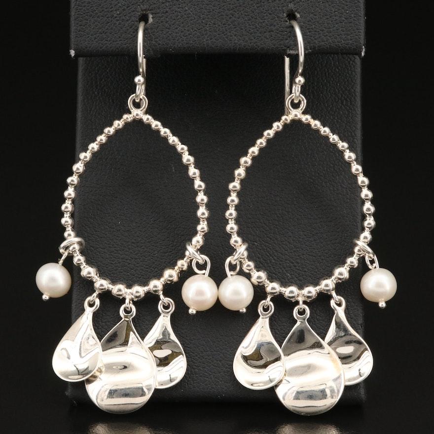 Michael Dawkins Sterling Pearl Loop Earrings