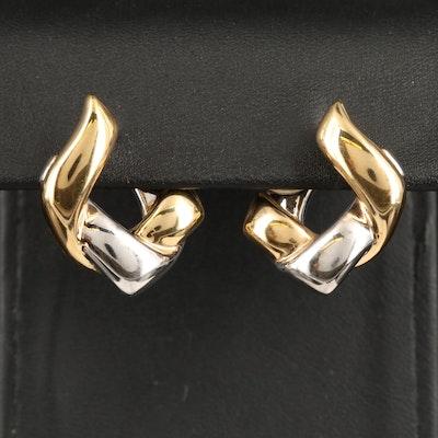 14K Two-Tone Woven Hoop Earrings