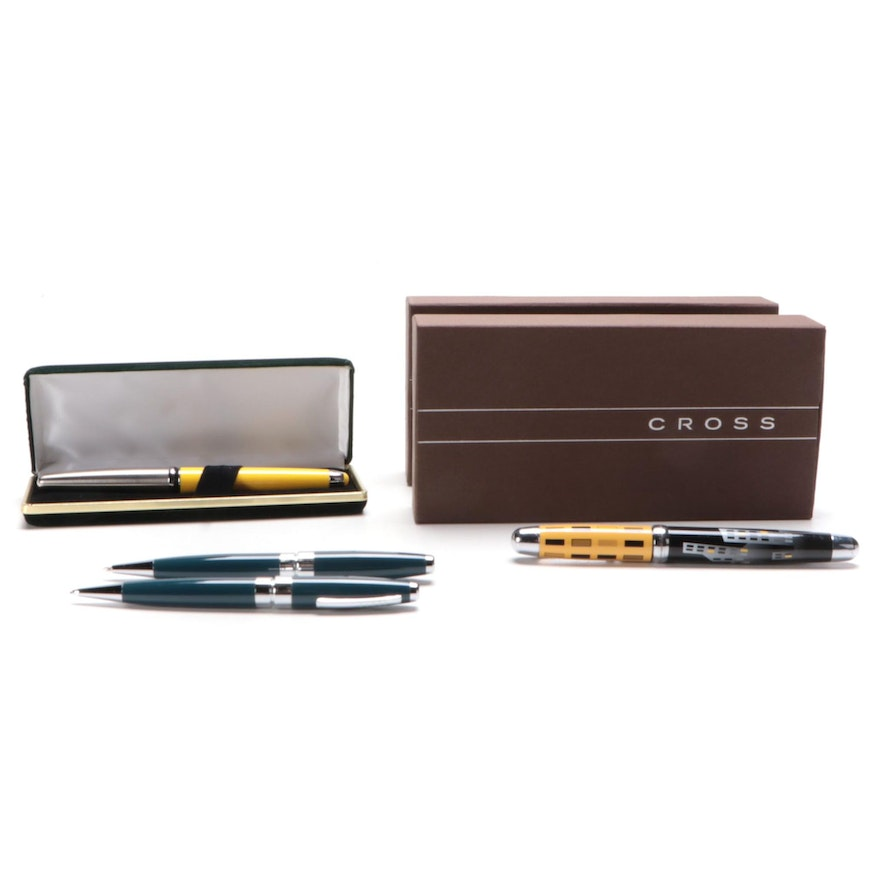 Cross, Yafa, Sherpa and Other Ballpoint and Fountain Pens and Pencil with Cases