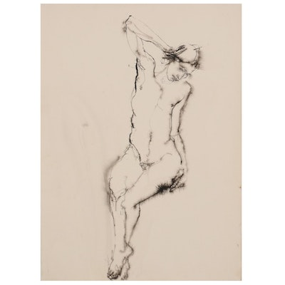 John Tuska Female Nude Ink Drawing, Mid-20th Century