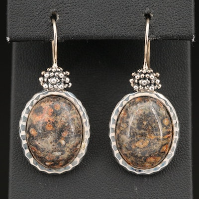 Michael Dawkins Sterling Jasper Drop Earrings with Granulation