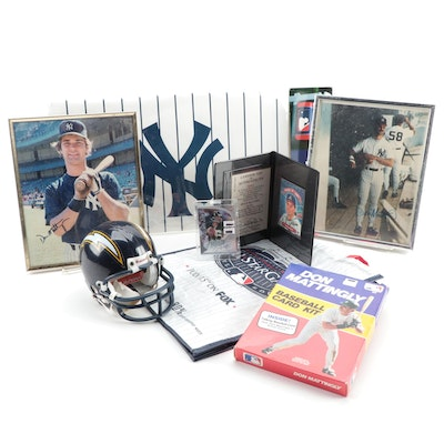 Eclectic Group of MLB and NFL Items Including Signed Don Mattingly and Ryan Leaf