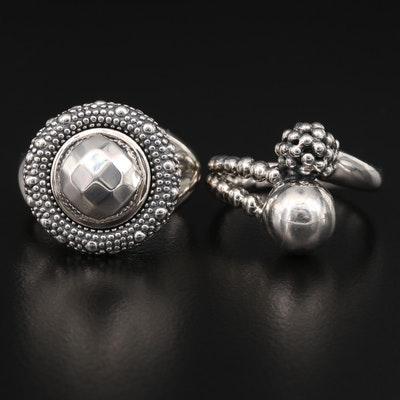 Michael Dawkins Sterling Silver Rings with Granulation