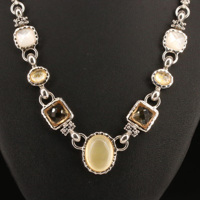 Michael Dawkins Sterling Silver Gemstone Link Necklace