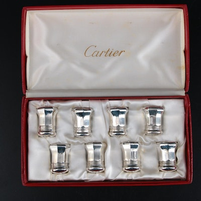 Cartier Sterling Silver Salt and Pepper Shakers and Case