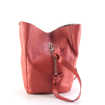 Jimmy Choo Echo Convertible Leather Backpack Purse in Persimmon