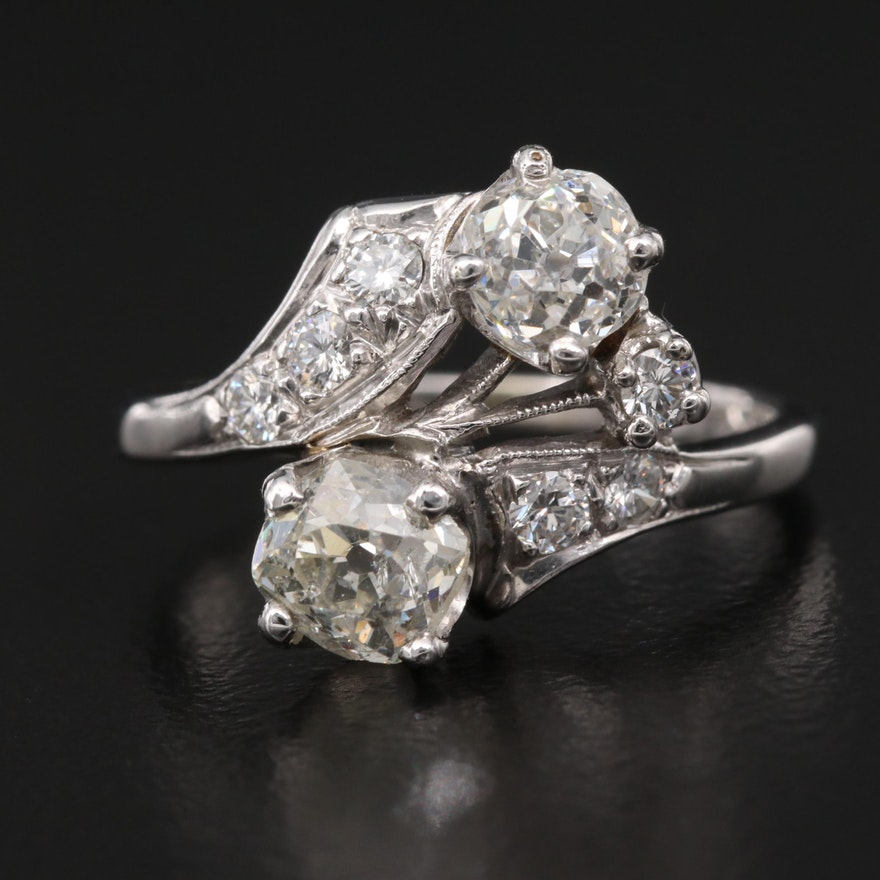 Retro 14K and Palladium 1.25 CTW Diamond Bypass Ring