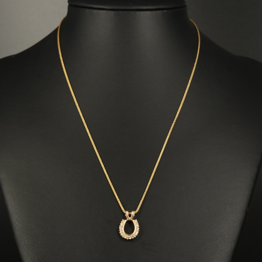 14K Diamond Lucky Horseshoe Pendant Necklace