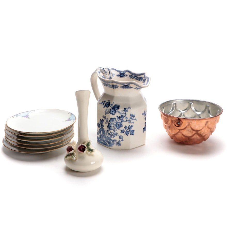 """Mason's """"Manchu"""" Blue and White Ironstone Pitcher with Other Tableware"""