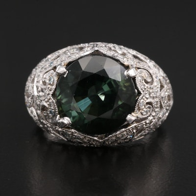 14K Tourmaline and Diamond Domed Ring with Open Scrollwork Design