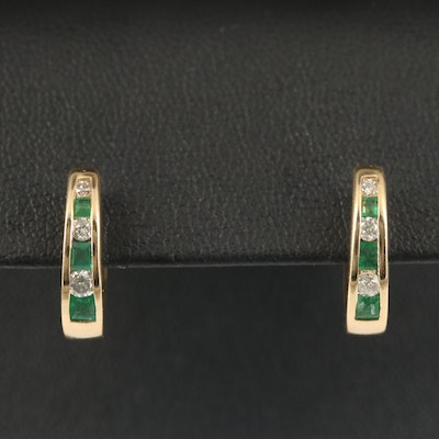 14K Emerald and Diamond Channel Hoop Earrings