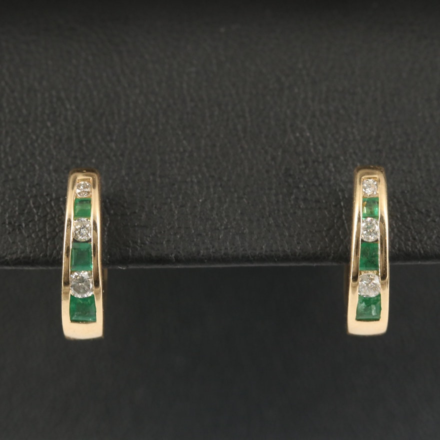 14K Emerald and Diamond Channel Hoop Earrings