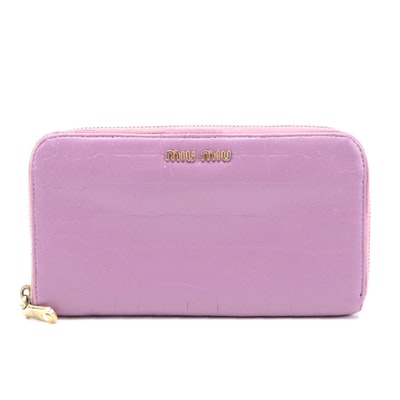 Modified Miu Miu Lilac Croc-Embossed Leather Zip Around Wallet