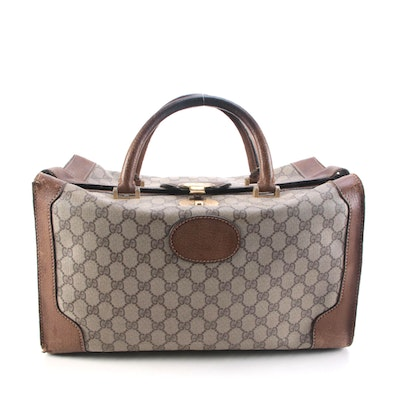 Gucci Three-Lock Train Case in GG Supreme Canvas with Leather Trim