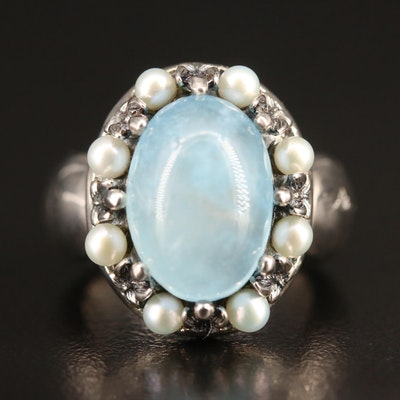 Ann King Sterling Silver Beryl and Pearl Ring