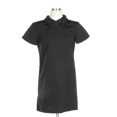 JF & Son Black Silk Shift Dress with Embellished Collar