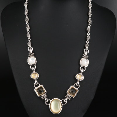 Michael Dawkins Quartz and Mother of Pearl Doublet Necklace