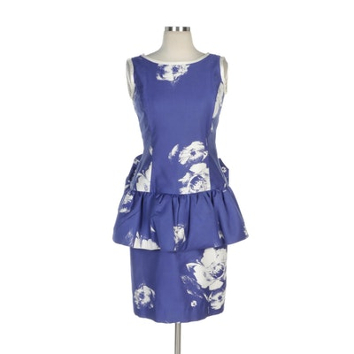 Evenings by Raul Blanco Abstract Floral Print Peplum Sleeveless Dress