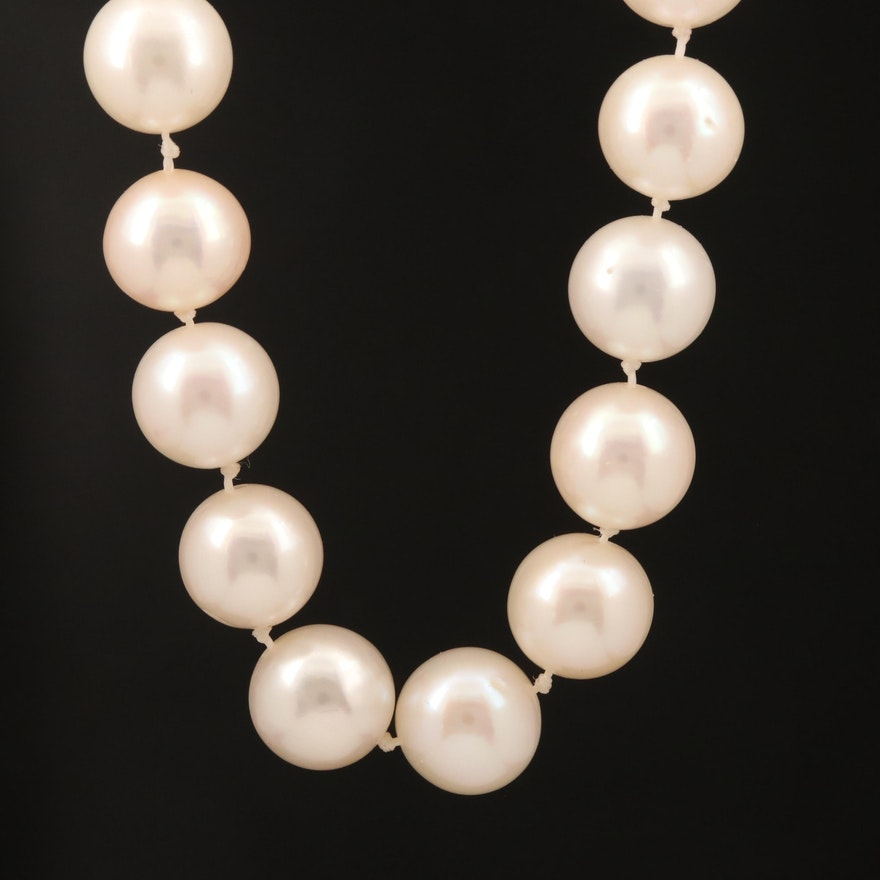 Pearl Necklace with 14K 1.48 CTW Diamond Clasp