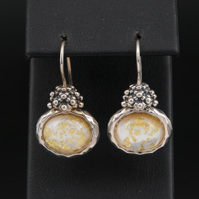 Michael Dawkins Rock Crystal Quartz and Mother of Pearl Doublet Earrings