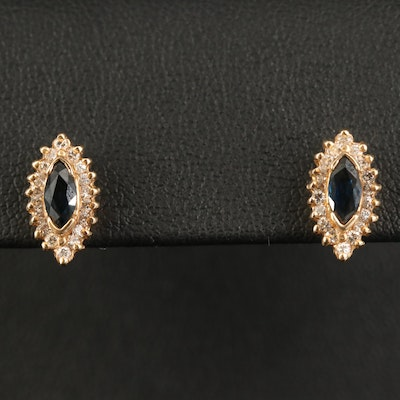 14K Sapphire and Diamond Navette Stud Earrings