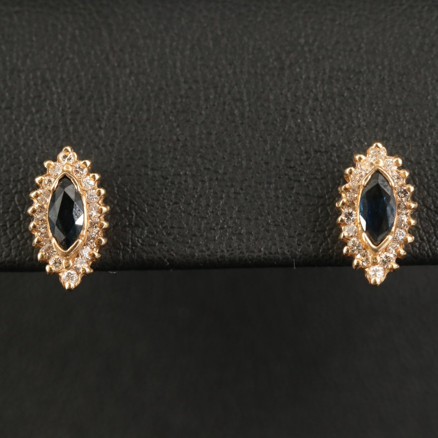 14K Sapphire and Diamond Navette Stud Earrings