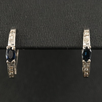 14K Sapphire and Diamond J-Hoop Earrings