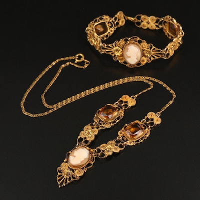 Vintage Shell Cameo and Glass Necklace and Bracelet Set