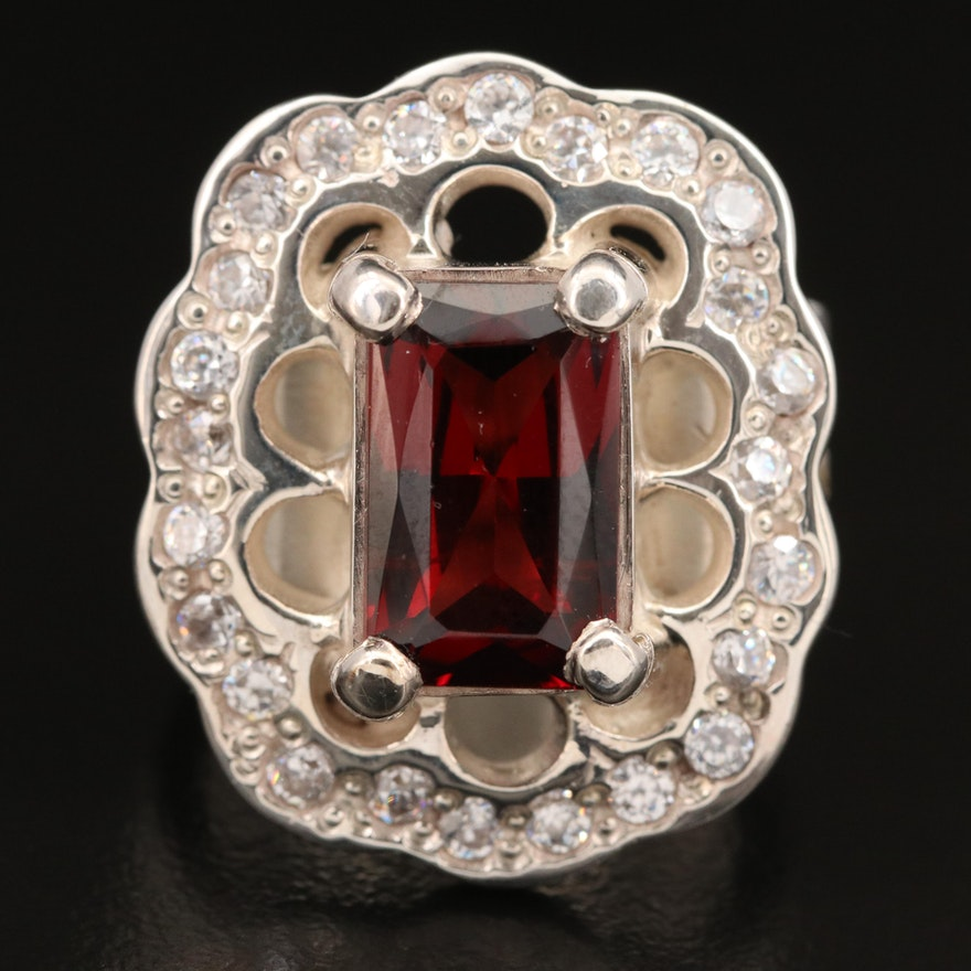 Laurent Lèger 950 Silver Garnet and Cubic Zirconia ring