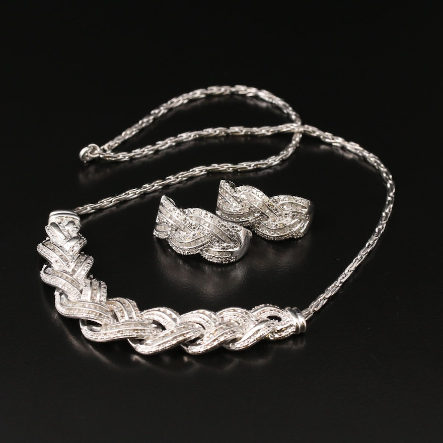 2.00 CTW Diamond Necklace and Earring Set