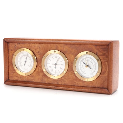 German Burled Maple Desk Top Weather Station with Clock, Late 20th-21st Century