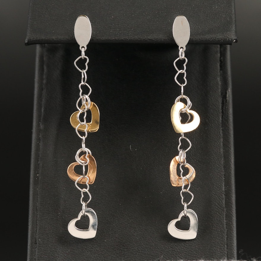 18K Tri-Color Gold Heart Earrings with Rose Gold Accents