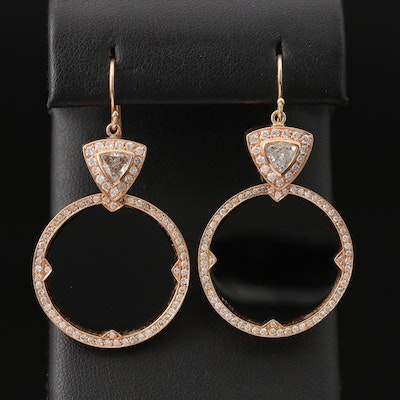 18K 1.86 CTW Diamond and Black Onyx Disc Drop Earrings