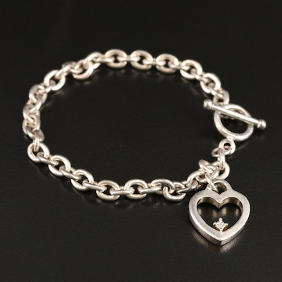 Sterling Heart Charm Bracelet with Diamond Accent