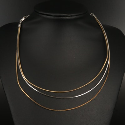 Italian Sterling Triple Chain Necklace