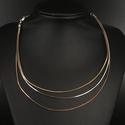 Italian Sterling Triple Chain Necklace
