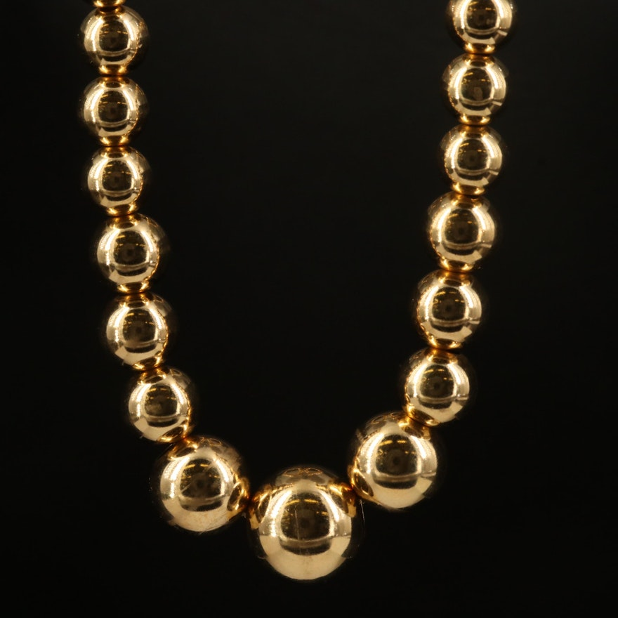18K Graduated Bead Necklace