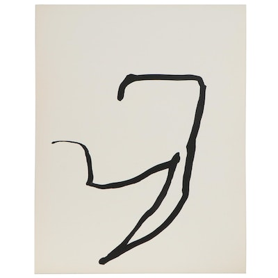 Nicholas Barbieri Minimalist Gestural Ink Drawing, Late 20th Century